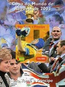 Sao Tome & Principe 2004 Rugby Nathan Sharpe Deluxe s/s mnh.vf