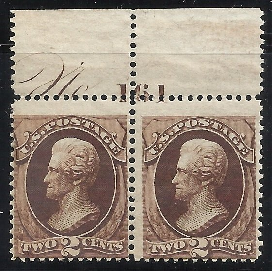 157  2c Pl# Margin Pair  MNH  Just Fine Centering Sm. gum adhesions left stamp