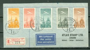 DENMARK 1937 AIR #C6-10 on SCARCE REGISTERED AIR COVER TO SWITZERLAND