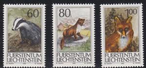 Liechtenstein # 1006-1008, Wild Animals, NH, 1/2 Cat.