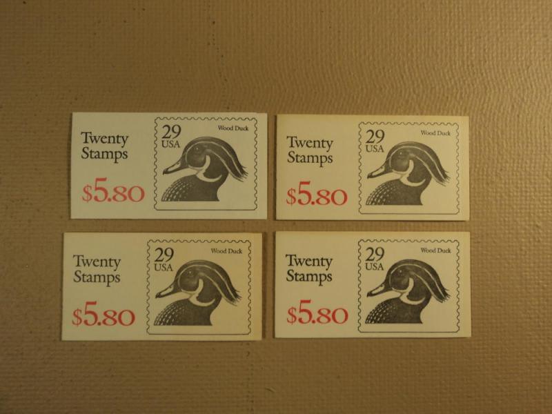 USPS Scott 2484a 29c Wood Duck 4 Books 1991 80 Stamps Min...