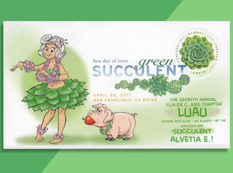 'Succulent' Luau Cachet on New Echeverria Global Forever FDC