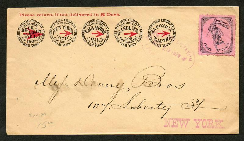 Boyds Dispatch #20L44 on Advertising Cover Dec 19, 1879 CDS Cancel NY OIL Rare