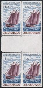 FRENCH ANTARCTIC FAAT 1987 Charcot gutter block of 4 MNH