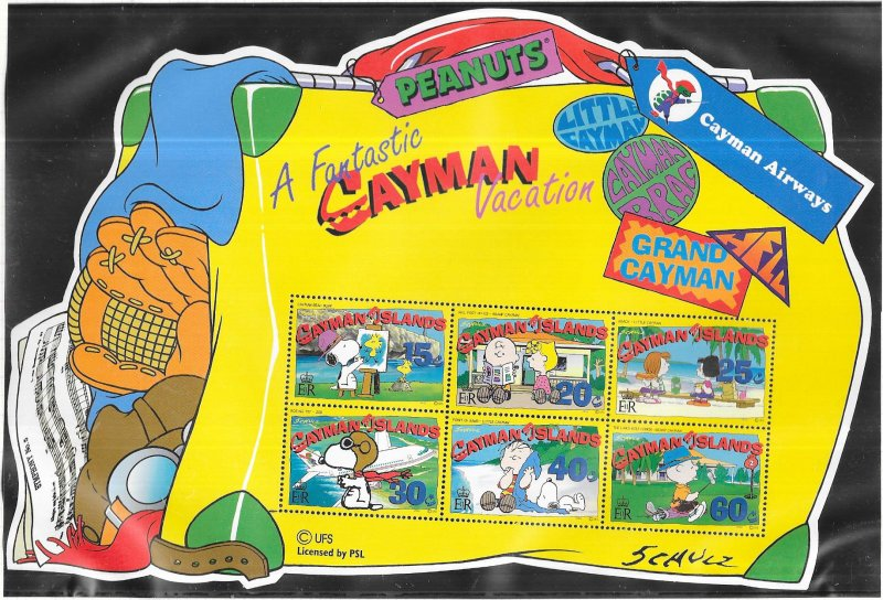 Cayman Islands #854a  Peanuts Comic Strip Characters S/S (MNH)  CV $8.50