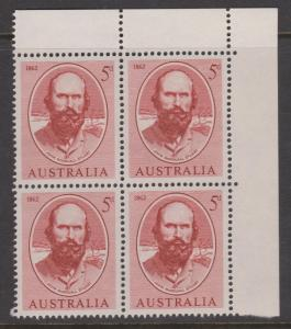 Australia 1961 Stuart Sc#345 Corner Block of 4 Mint Hinged on 2 stamps