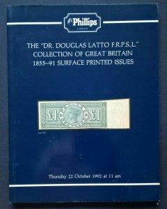 Auction Catalogue DR DOUGLAS LATTO GREAT BRITAIN SURFACE PRINTED 1855-91