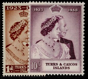 TURKS & CAICOS ISLANDS GVI SG208-209, ROYAL SILVER WEDDING set LH MINT. Cat £14.