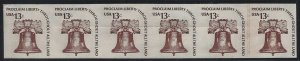 1618b - Imperf Error EFO Line Strip of 6 W/Rejection Slit Liberty Bell Mint NH