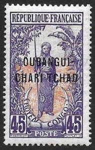 Ubangi-Shari 1915-22 45c #16 VF-H CV $6.50