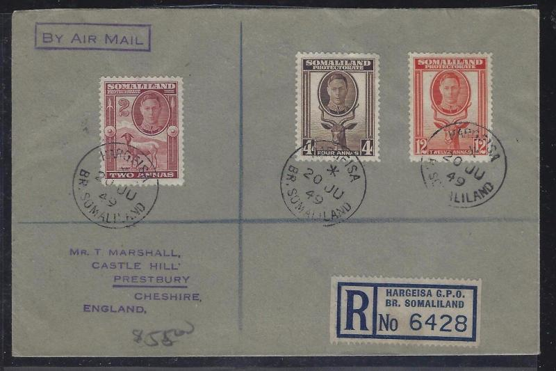 SOMALILAND COVER (PP0312B)  1949 KGVI GOAT 2A+4A+12A REG HARGEISA TO ENGLAND