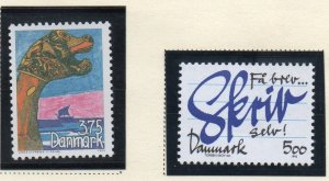 Denmark  Scott 990-91 1993 Letter Writing Viking Ships stamp set mint NH