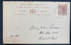 1910 Turks Island Postal Stationery Postcard cover To Karlsbad Austria