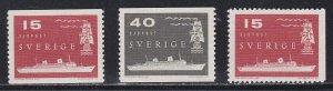 Sweden # 521-523, Old & Modern Vessels, NH, 1/2 Cat