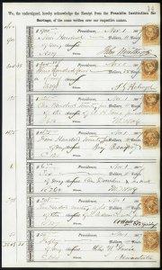 1867 Bank ledger page with R6c revenue stamps handstamp cancels dbl transfer L14