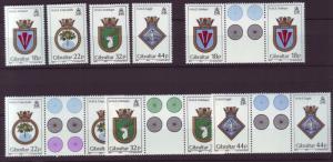 J19617 Jlstamps 1987 gibraltar set + gutter pairs mnh #501-4 navy ships crests