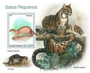 Sao Tome & Principe 2021 MNH Wild Animals Stamps Small Cats Jaguarundi 1v S/S
