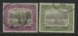 St. Kitts 1913 6d and 1/ used