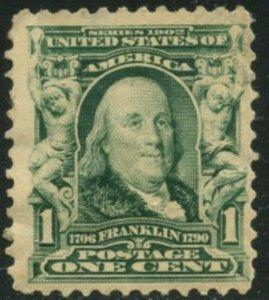 US Sc#300 1903 1c Franklin Fine Centered Part OG Mint Hinged