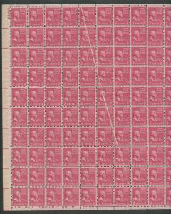 #806 VAR 2c JOHN ADAMS SHEET OF 100 W/ PPF FOLDOVER ERROR ON 12 STAMPS HW5251