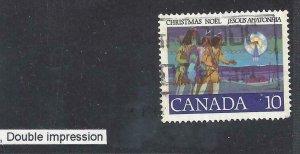 CANADA DOUBLE IMPRESSION/KISS PRINT VARIETY SCOTT 741iv VF USED (BS16282)