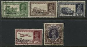 Bahrain overprinted KGVI 1938-41  5 various values to 2 rupees used