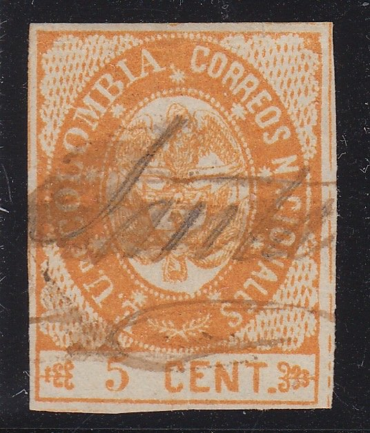 Colombia 1865 5c Orange Used. Scott 37a