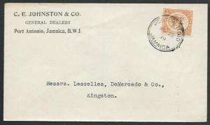 JAMAICA 1919 local cover 1½d War Tax : Port Antonio cds....................59447