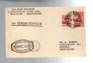 1931 Brazil Graf Zeppelin Flown Postcard cover to Germany LZ 127 # C26 C27