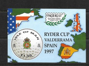 ISLE OF MAN, 756, MNH, SS, RYDER CUP VALDERRAMA SPAIN 1997