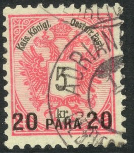 AUSTRIAN OFFICES IN TURKEY 1888 20pa on 5kr ARMS Sc 16 ADRIANOPLE cds VFU