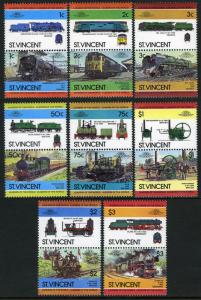 St. Vincent MNH 747-54 Pairs Locomotives SCV 3.65
