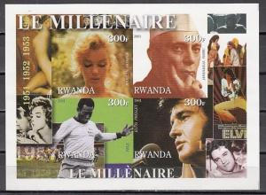 Rwanda, 2001 Cinderella issue. 50`s sheet. Elvis, Nehru, Pele & Monroe. IMPERF