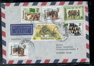 TANZANIA COVER (P0407B) 1990 8/ TIGER+OLYMICS+3 MORE A/M COVER TO GERMANY NO BKF