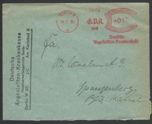 GERMANY 1930 cover red meter BERLIN, Deutsche Angestellten Krankenkasse....57062