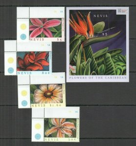 QF1280 2000 NEVIS FLOWERS OF THE CARIBBEAN FLORA 1BL+1SET FIX