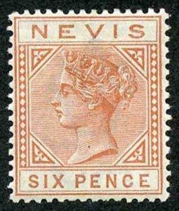 Nevis SG33 6d Chestnut wmk Crown CA lightly M/M Cat 24 pounds