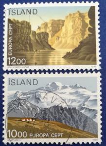 Iceland National Parks Stamp Set Scott # 622-3 Used (I235)