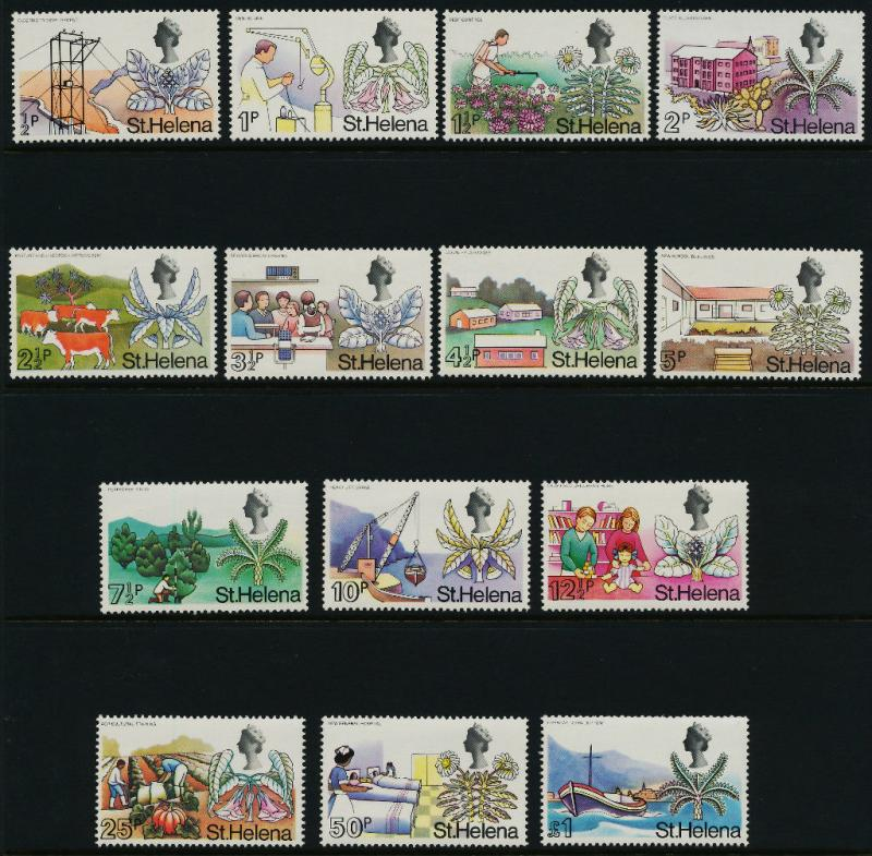 St Helena 244-56 + 223 reprint MNH Animals, Ship, Flowers, Agriculture