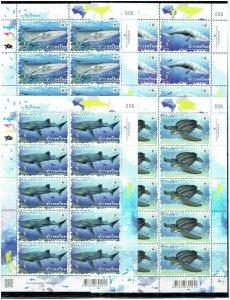 Thailand 2019 fauna  wwf marine life turtles whales 4 klb MNH