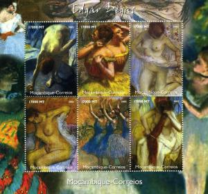 Mozambique 2002 Edgar Degas PAINTINGS sheet (6) perforated mnh.vf