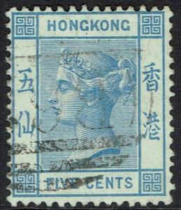 HONG KONG 1880 QV 5C WMK CROWN CC USED
