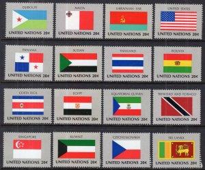 UN New York 350-365 Flags MNH VF