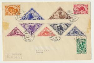 TANNU TUVA 1935 (26 111) REG COVER TURAN TO BELGIUM, SC#61-70 (POSSIBLE FDC?)