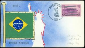 1943 MAE WEIGAND Hand Painted Cover BRAZIL Flag, United Nations, FREELAND MD CDS