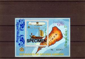 Timor (Ocussi-Ambeno) Ships-Zeppelin ovpt.Royal Wedding SS