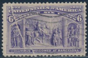 #235 VAR 6¢ COLUMBIAN W/ PRE-PRINTED PAPERFOLD ERROR USED -- RARE -- BT1569