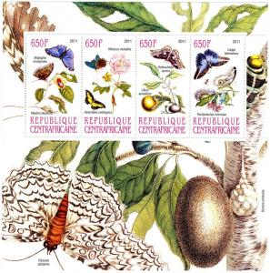 Central African Republic 2011 Butterflies-Insect Sheet Perforated mnh.vf
