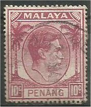 PENANG, 1949, used 10c, George VI  Scott 11