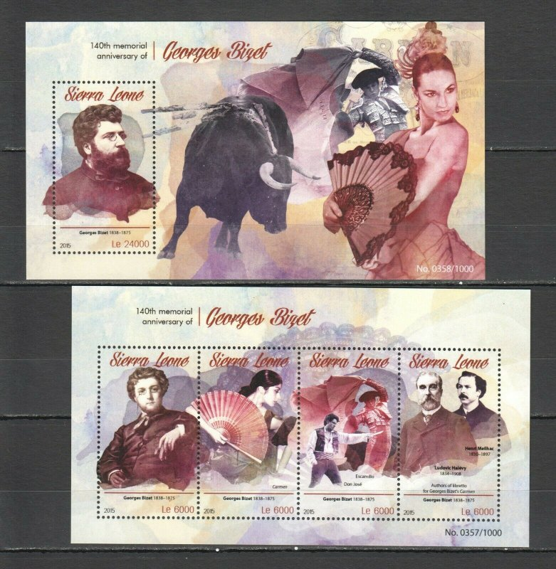 ST556 2015 SIERRA LEONE ART GREAT COMPOSER GEORGES BIZET 1KB+1BL MNH STAMPS